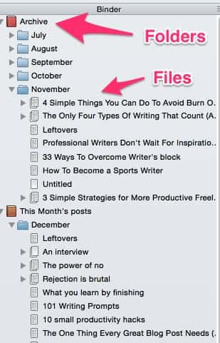 Files and folders in Scrivener