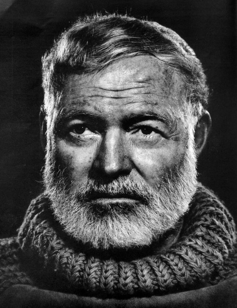 A close up of Ernest Hemingway
