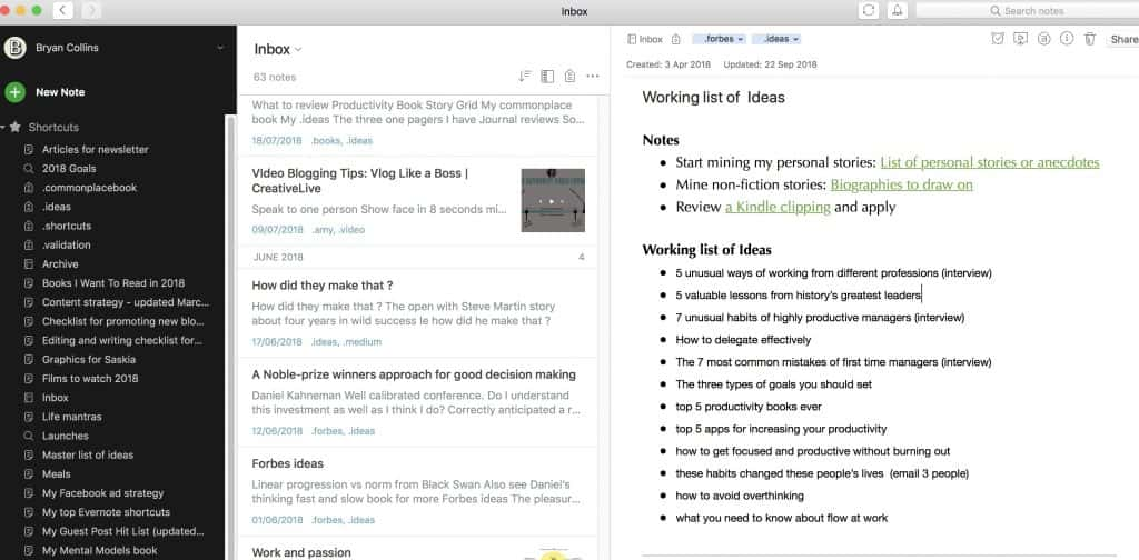 Evernote graphical user interface