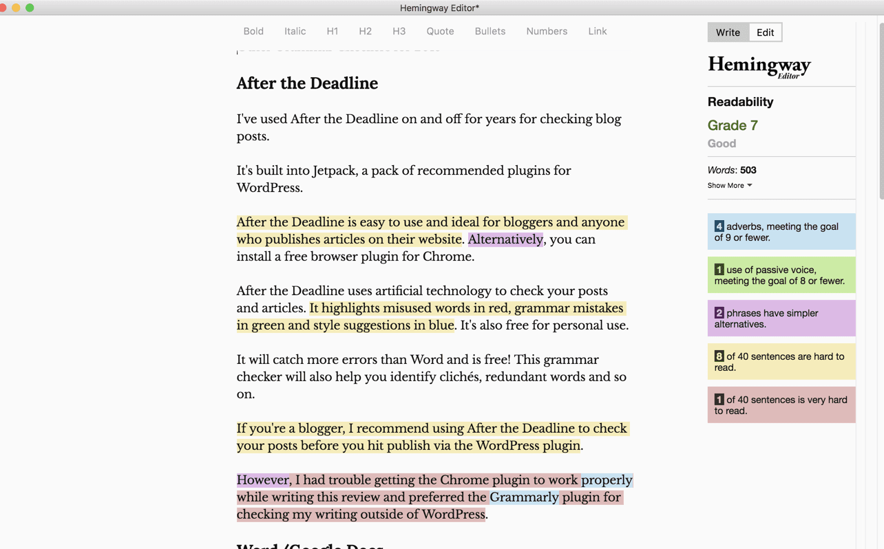 Hemingway Editor -grammar checker review