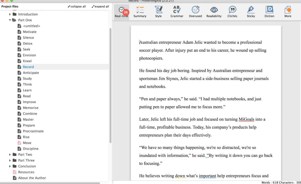 A Scrivener project in ProWritingAid