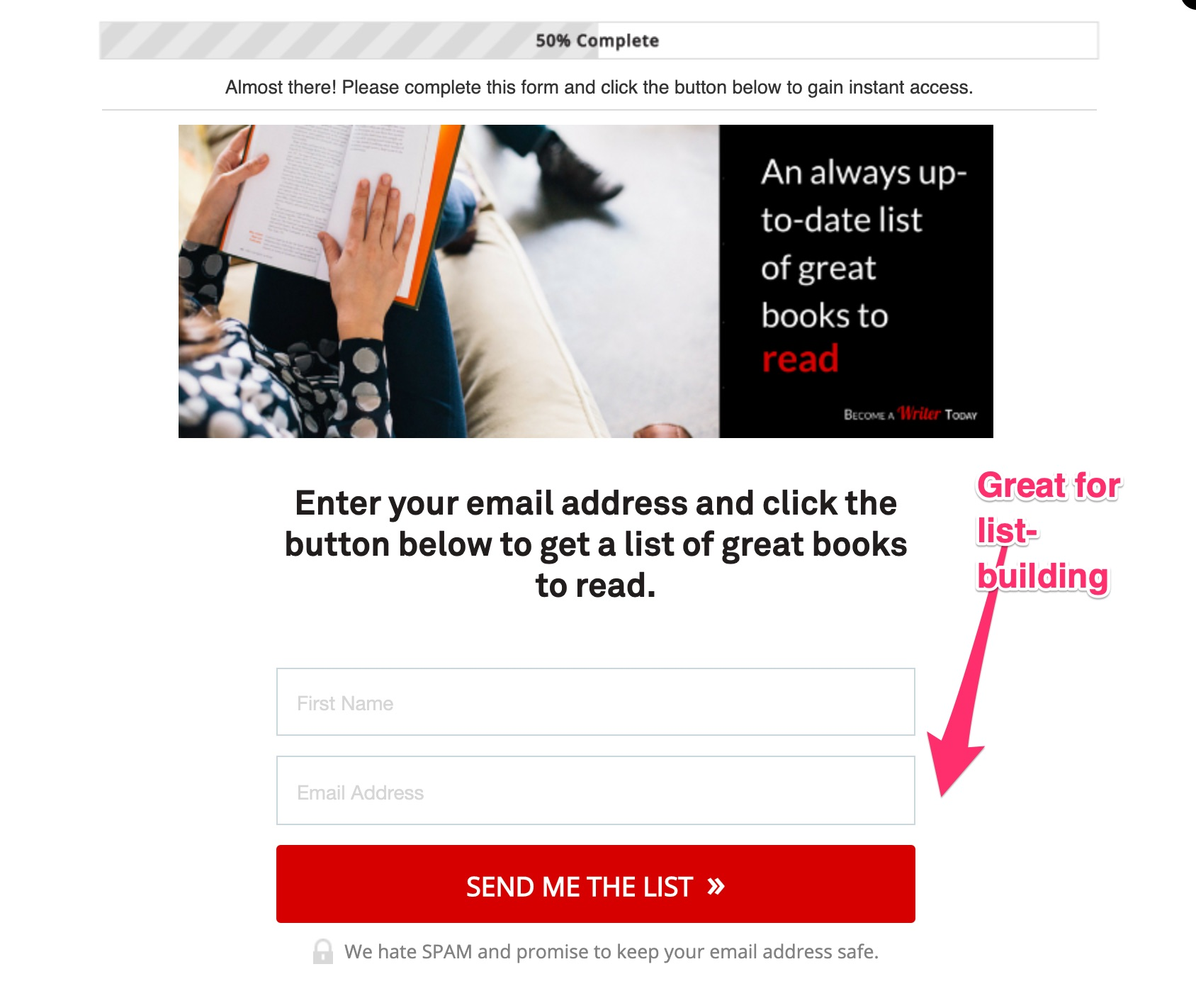 A Leadpages popup