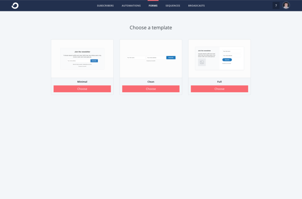 Creating a new form inside of ConvertKit