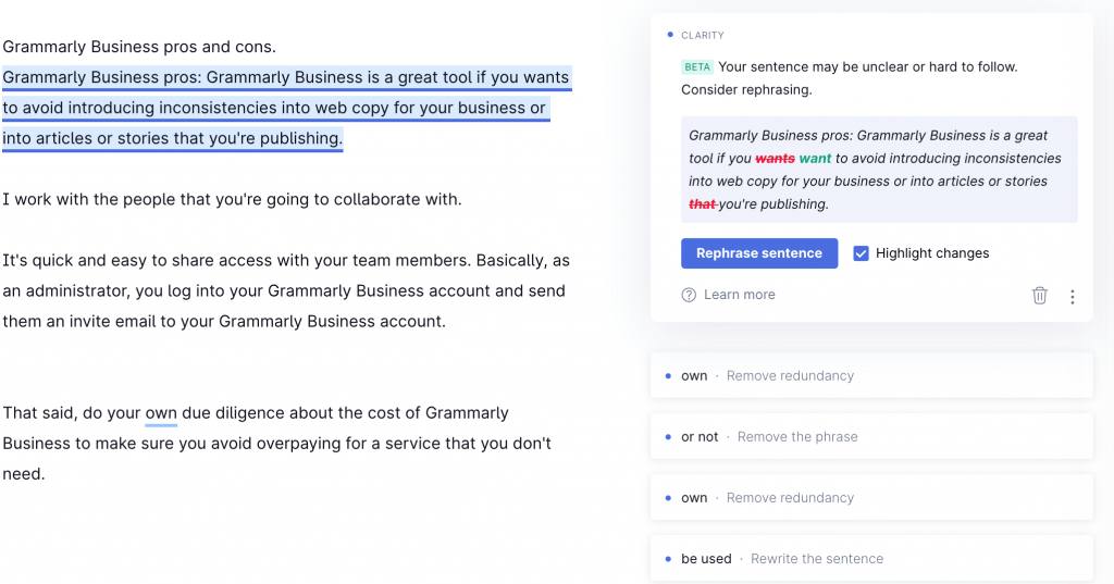 Grammarly-Business grammar checker