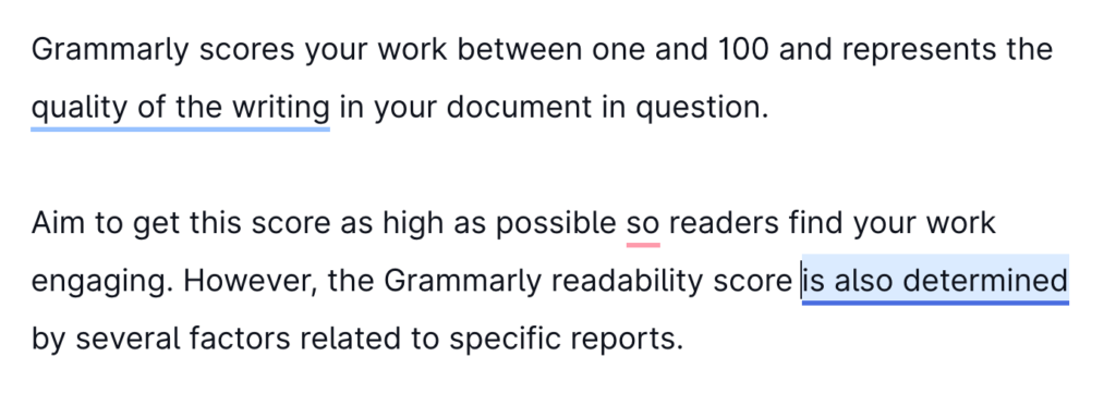 The Grammarly correctness report