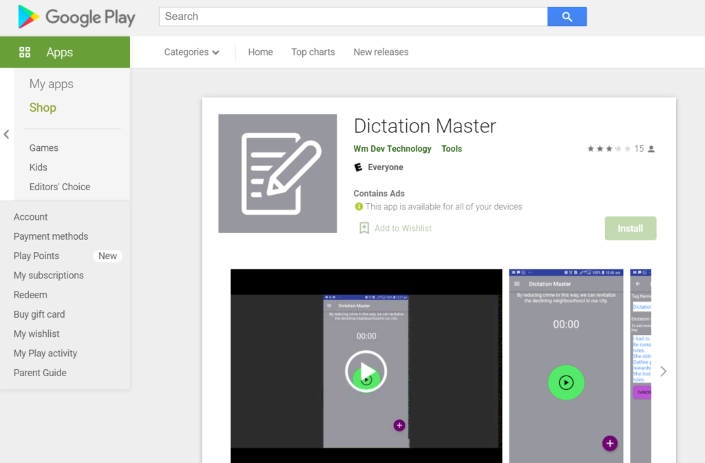 Dictating on the go using the app Dictation Master